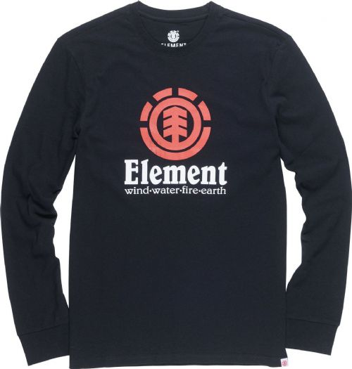 ELEMENT MENS TOP.VERTICAL BLACK COTTON LONG SLEEVED SKATER T SHIRT TEE 8W 4 3732